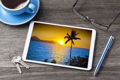 Tablet Computer Vacation Travel Business royalty free stock photo