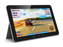 Tablet computer with video game Stock Images