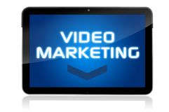 Tablet computer with video marketing stock illustration