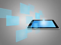 Tablet computer and virtual icons Royalty Free Stock Images