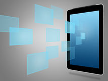 Tablet computer and virtual icons Royalty Free Stock Photo