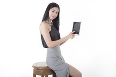 Tablet computer woman. On white background Stock Photography