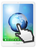 Pc tablet cursor and globe Royalty Free Stock Photos