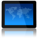 Tablet Computer with World Map Stock Image