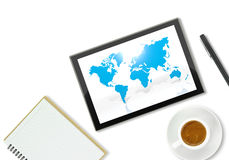 Tablet computer with world map Royalty Free Stock Photo