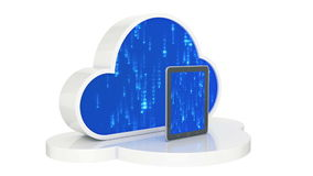 Tablet computers with cloud, cloud computing, tablet pc. Design made in 3D stock video