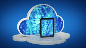 Tablet computers with cloud, cloud computing, tablet pc stock video footage