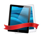 Tablet computers icons and red ribbon Stock Image