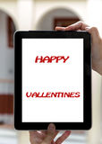 Tablet concept Valentine's Day signs: Signs of Valentine's Day o Royalty Free Stock Photography
