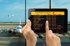 Tablet with connect wifi on the airport Stock Images