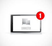 Tablet connected communication concept message. Stock Photos