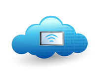 Tablet connected to a cloud via wifi. Royalty Free Stock Photography