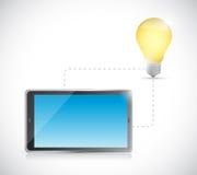 Tablet connection. light bulb idea electronic Royalty Free Stock Photos