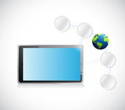 Tablet and connection link diagram Royalty Free Stock Images