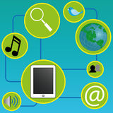 Tablet connections. Tablet with connections, social media icons on green circles on blue background Royalty Free Stock Photos