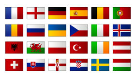 Euro 2016 flags Royalty Free Stock Images