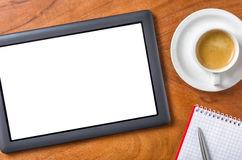 Tablet with copy space on a desk Stock Images