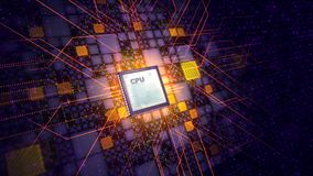 Tablet CPU Transmits Power Signals Around Royalty Free Stock Photo