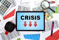 Tablet with crisis Royalty Free Stock Images