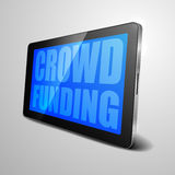 Tablet Crowdfunding. Detailed illustration of a tablet computer device with crwodfunding Royalty Free Stock Photo