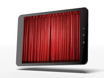 The tablet and curtains on the screen Royalty Free Stock Images
