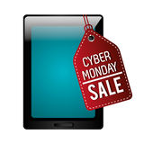 Tablet with cyber monday discount Stock Photography