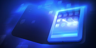Tablet. 3d tablet with abstract menu Stock Images