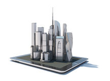 Tablet with 3d city streetmap of office blocks. And skyscrapers on the screen, isolated on white background Royalty Free Stock Photos