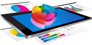 Tablet with 3d graph Royalty Free Stock Image