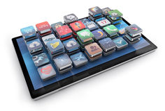 Tablet and 3d icons Royalty Free Stock Photography