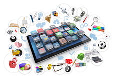 Tablet and 3d icons Stock Images