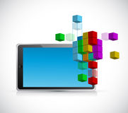 Tablet and 3d model cube illustration Stock Photo
