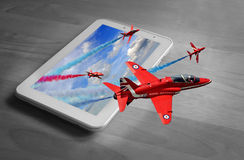 Tablet 3d red arrows display team Royalty Free Stock Photo