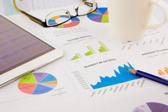 Tablet, data analysis and strategic planning project stock images