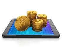 Tablet datoren och gruppen av guldmynt Royaltyfri Fotografi