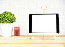 tablet On the desk at home Office royalty free stock image