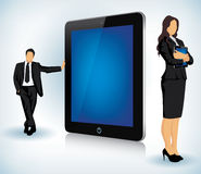 Tablet device with business people stock illustration