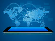Tablet device with map pop up. Modern tablet device with map pop up Stock Photo