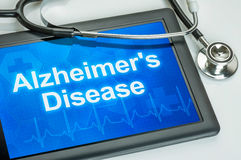 Tablet with the diagnosis alzheimer's disease stock images