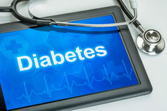 Tablet with the diagnosis diabetes. On the display Royalty Free Stock Photos