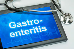 Tablet with the diagnosis Gastroenteritis on the display royalty free stock image