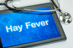Tablet with the diagnosis hay fever Stock Photos