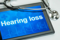 Tablet with the diagnosis Hearing loss. On the display stock photo