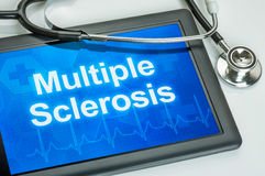 Tablet with the diagnosis multiple sclerosis stock images