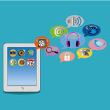 Tablet. With different social media icons on blue background Stock Photo