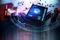 Futurte and innovation concept. Tablet with digital business interface on blurry desk. Futurte and innovation concept Royalty Free Stock Image