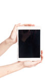 Tablet with dirty screen isolated. On white royalty free stock photos