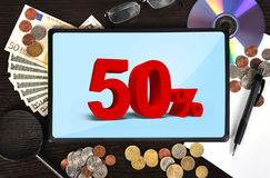Tablet with discount Royalty Free Stock Images