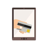 Tablet with display with credit card in hand Stock Photo