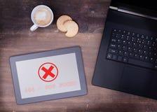 Tablet displaying an error, 404 Stock Photos